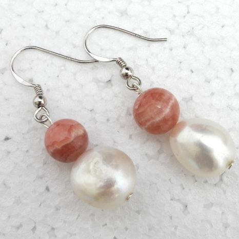 Rhodochrosite and Pearl Earrings