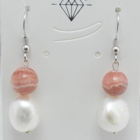 Rhodocrosite and Pearl Earrings