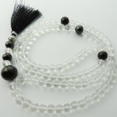 Shungite and Clear Quartz Mala Beads