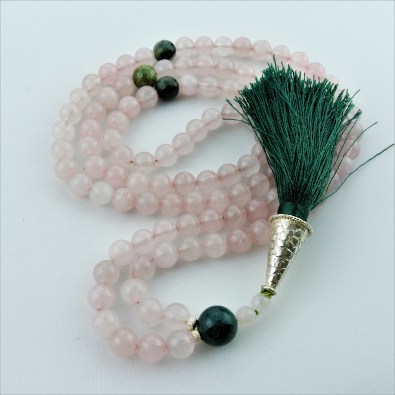 Rose Quartz and Moss Agate Mala Beads