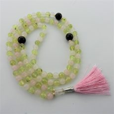 Prehnite and Rose Quartz Mala Beads