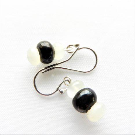 Shungite and Moonstone Earrings