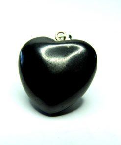 Polished Shungite Heart Pendant