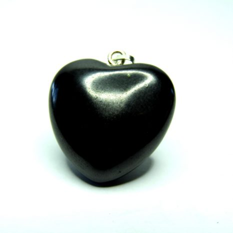 Polished Shungite Heart Pendant