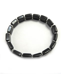 Square Shungite Bracelet with SS Spacers