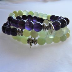 Amethyst and Jade Mala Stack Bracelet