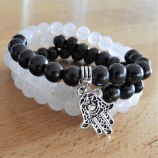Shungite and White Jade Mala Stack Bracelet