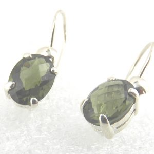 Faceted Sterling Silver Moldavite Earrings