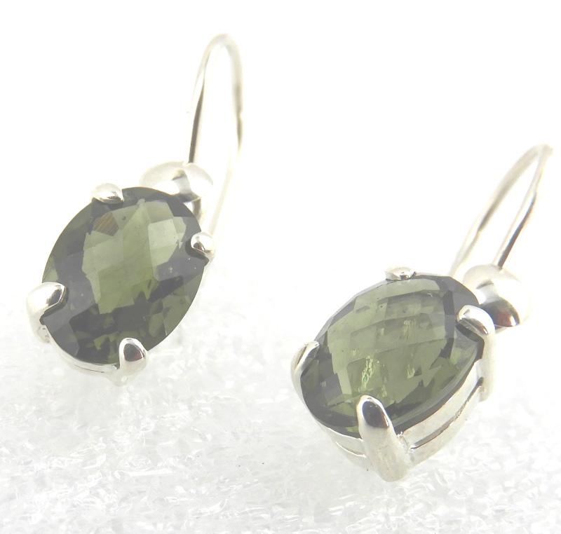Faceted Sterling Silver Moldavite Earrings