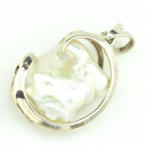 Sterling Silver Keshi Pearl Pendant