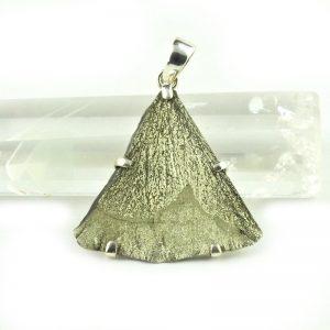 Sterling Silver Pyrite Sun Slice Pendant