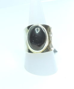 Beaten Silver Shungite Ring