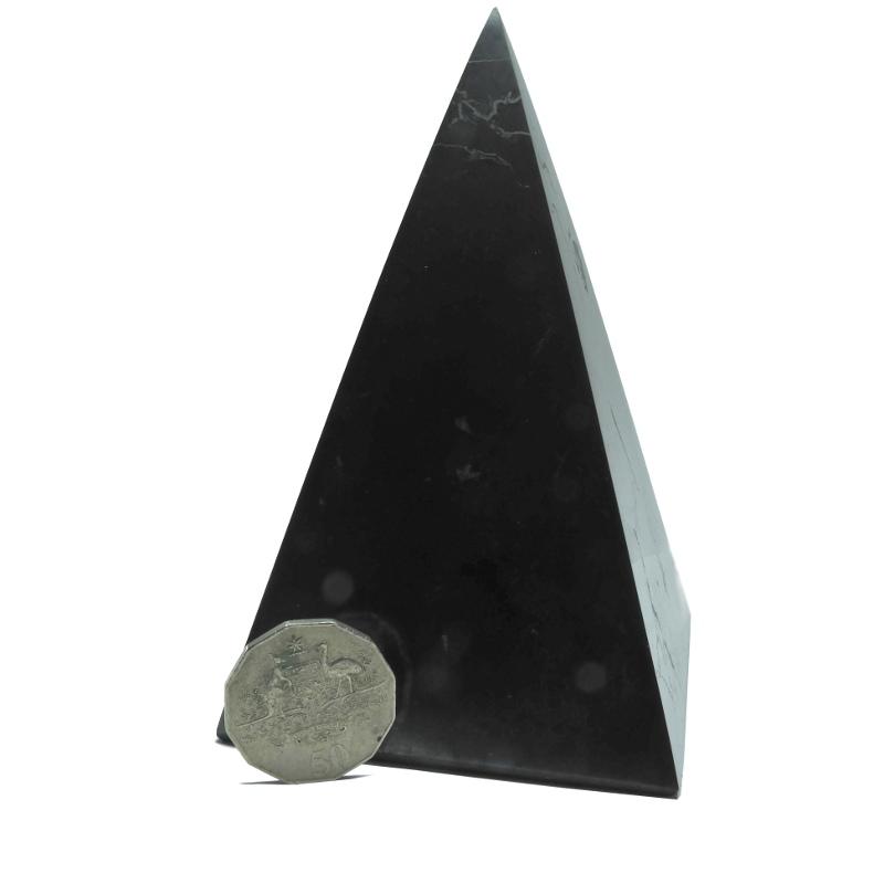Tall Shungite Pyramid 9 cm Polished