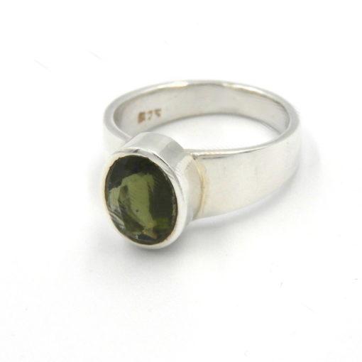 Facetted Moldavite Ring