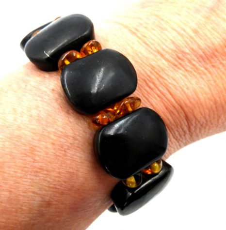 Shungite and Amber Bracelet