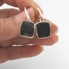 Large Elite Shungite Sterling Silver Earrinfs