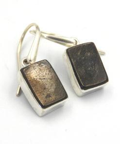 Sterling Silver Elite Shungite Oblong Earrings