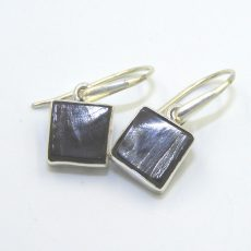 Sterling Silver Elite Shungite Square Earrings