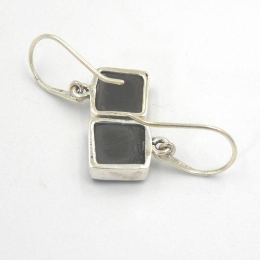 Sterling Silver Elite Shungite Square Earrings