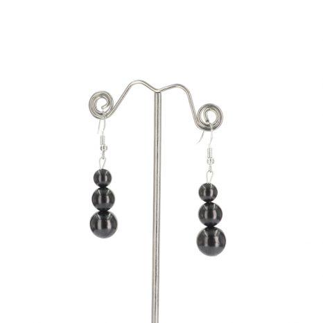Shungite 3 Bead Earrings