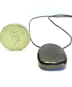 Side Drilled Shungite Tumbled Stone Pendant