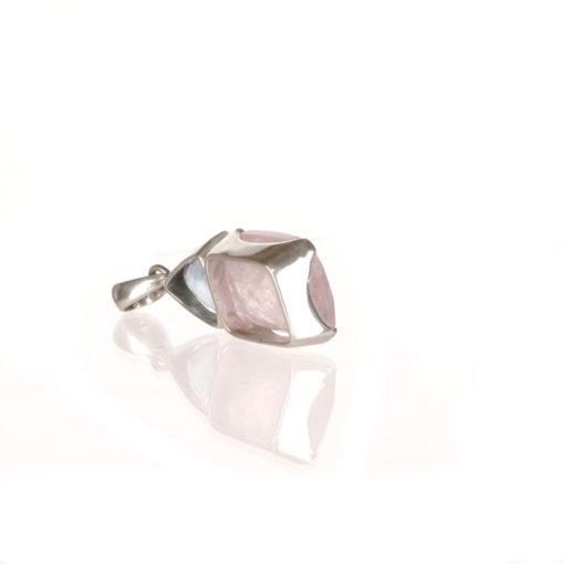 Sterling Silver Morganite and Aquamarine Pendant